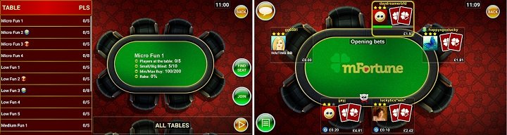 mFortune real money Texas Hold em app